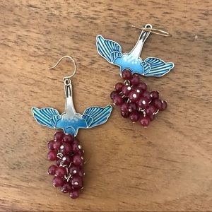 J.Crew Enamel Bird Beaded Nouveau Drop Earrings